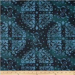 "108"" Wide Quilt Backing Medallion Tonal Navy"