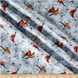 Moda Forest Frost Glitter Metallic Cardinals Icicle