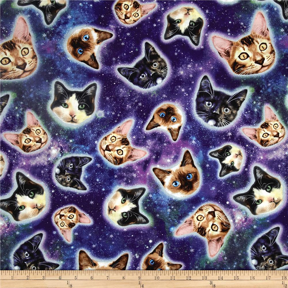 Timeless treasures galaxy cats cat heads in space galaxy for Space cat fabric