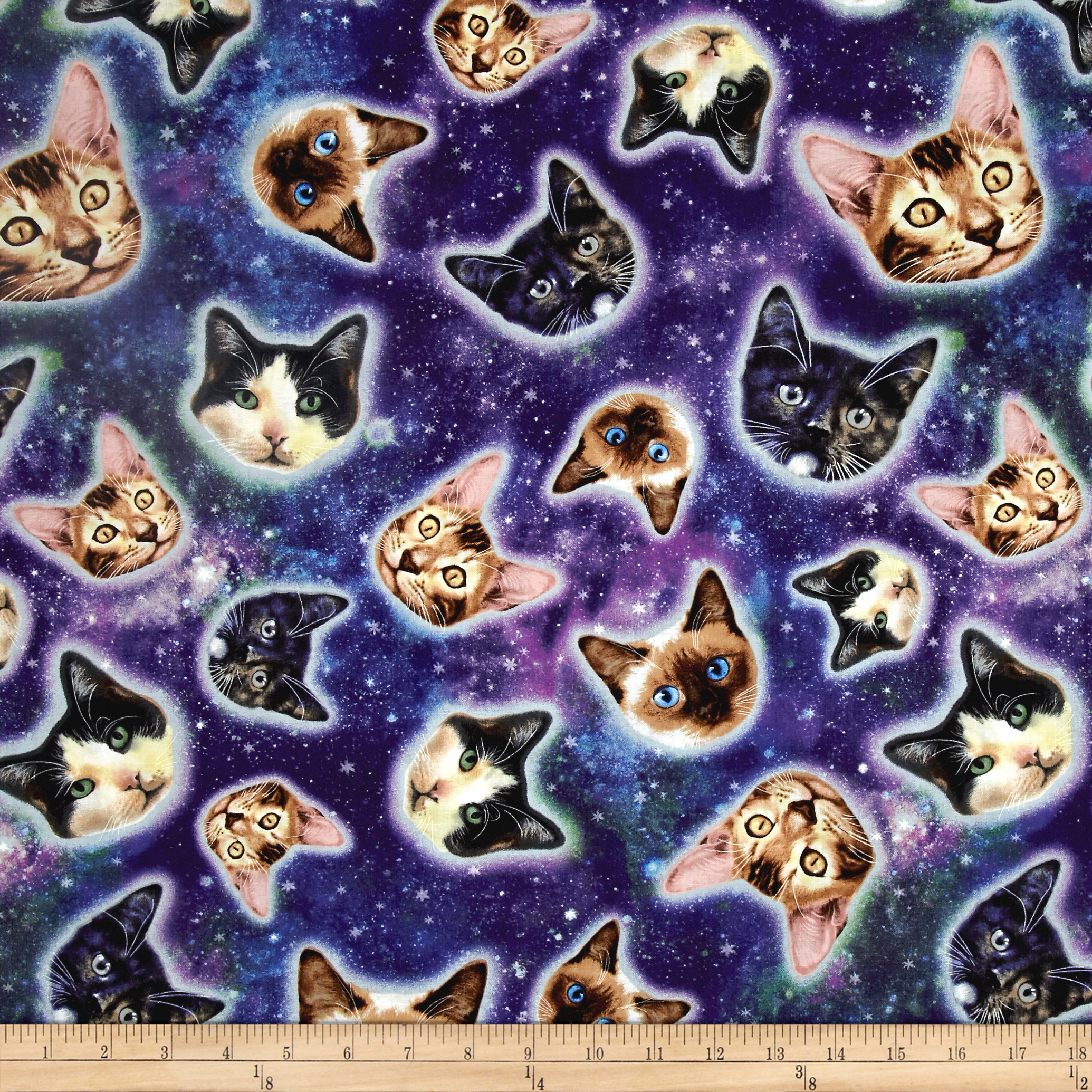 Image of Timeless Treasures Galaxy Cats Cat Heads In Space Galaxy Fabric
