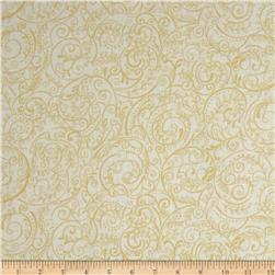 "Charleston 108"" Wide Quilt Backing Swirly Vine White/Beige"
