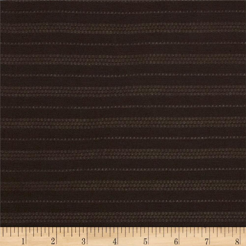 Designer Needle-Out Jersey Knit Stripes Dark Brown