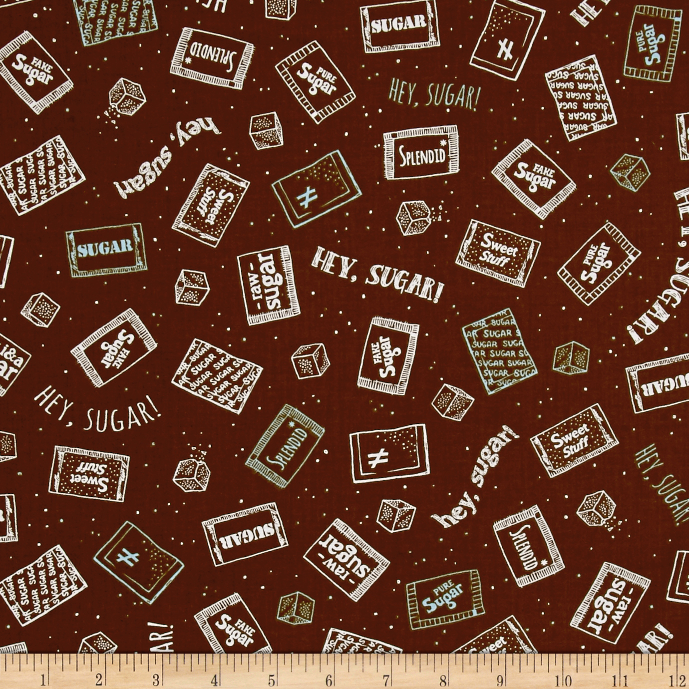 Ink & Arrow Caf-Fiend Sugar Packets Brown Fabric by Quilting Treasures in USA