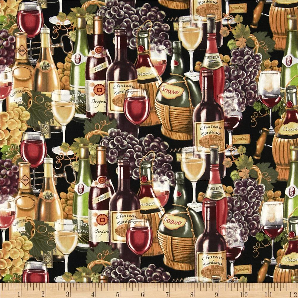 Italian Vineyard Wine Bottles Multi