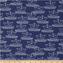 Ahoy Matey Sailboat Navy Fabric