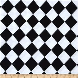 Cotton Spandex Jersey Knit Checkerboard Black/Pure White