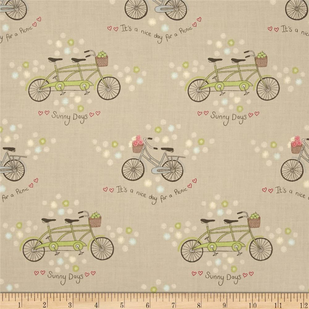 Picnic In The Park Bicycles & Flowers Taupe