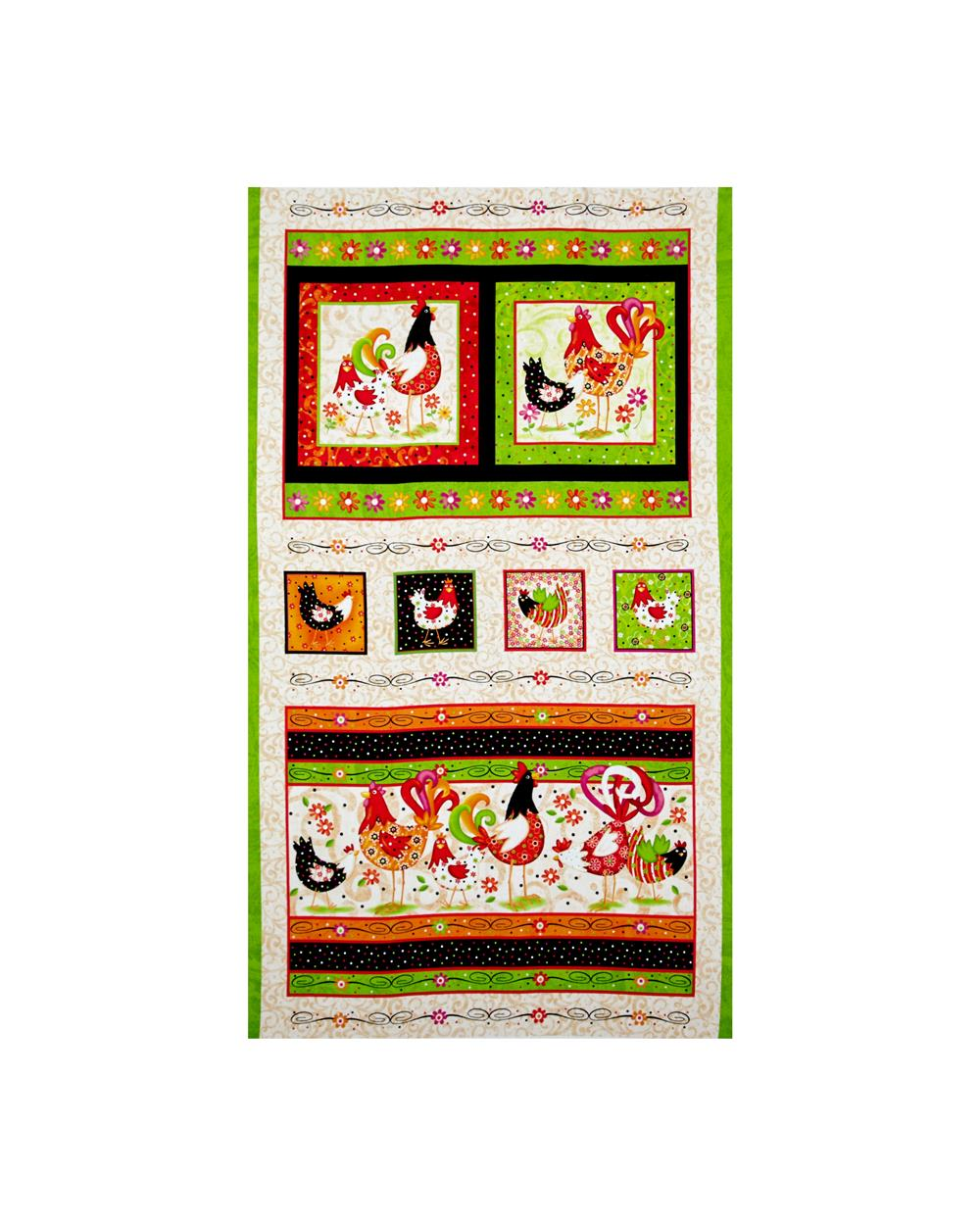 Pecking Order Rooster Picture Patch 23 In. Panel Multi Fabric By The Yard