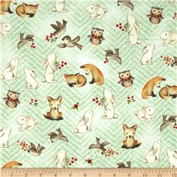 Snow Babies Flannel Snow Baby Animal Green