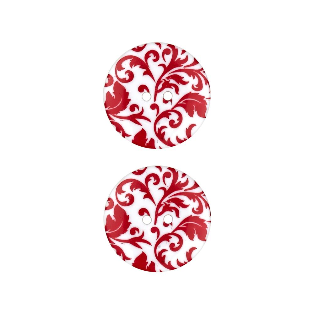 "Dill Novelty Button 1"" Flourish Red/White"