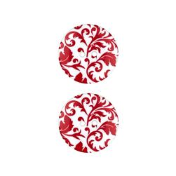 Dill Novelty Button 1'' Flourish Red/White
