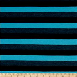 Jersey Knit Stripe Aqua/Black/Gray