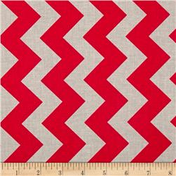 Riley Blake Medium Chevron Red/Grey Fabric