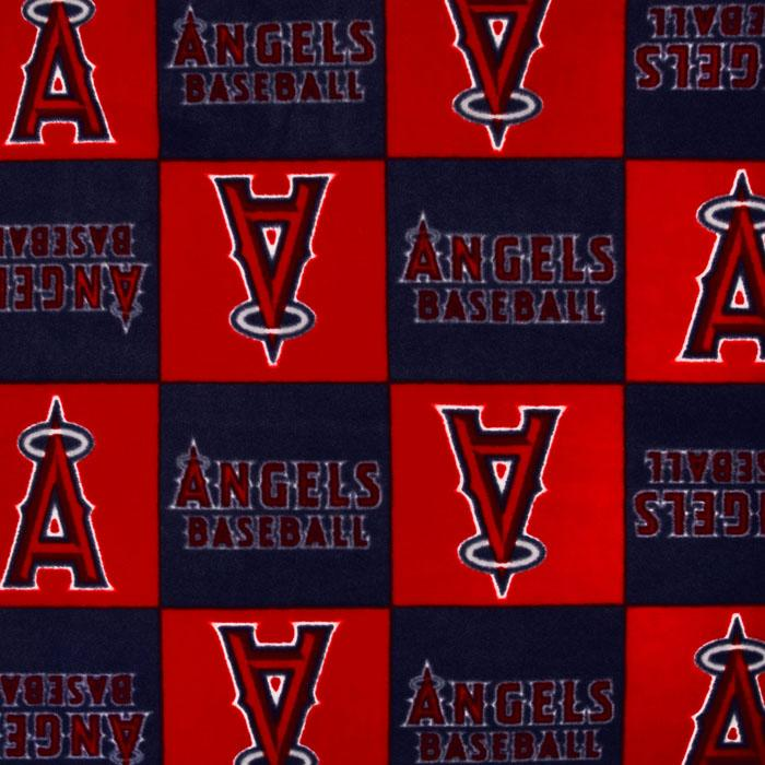 MLB Fleece Los Angeles Angels of Anaheim Blocks Red Fabric By The Yard