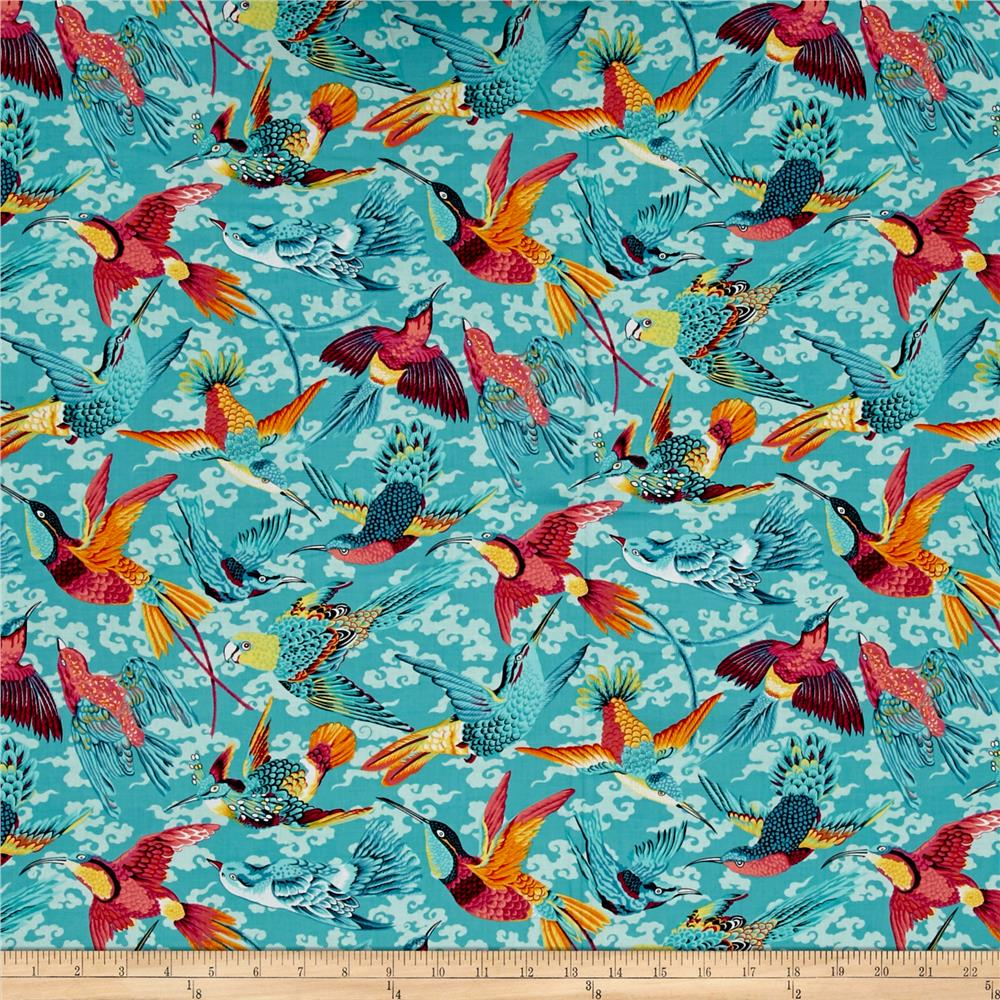 Natural world tropical birds tropical discount designer for Modern fabrics textiles