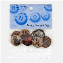 Dress It Up Embellisment Buttons  Raining Cats & Dogs