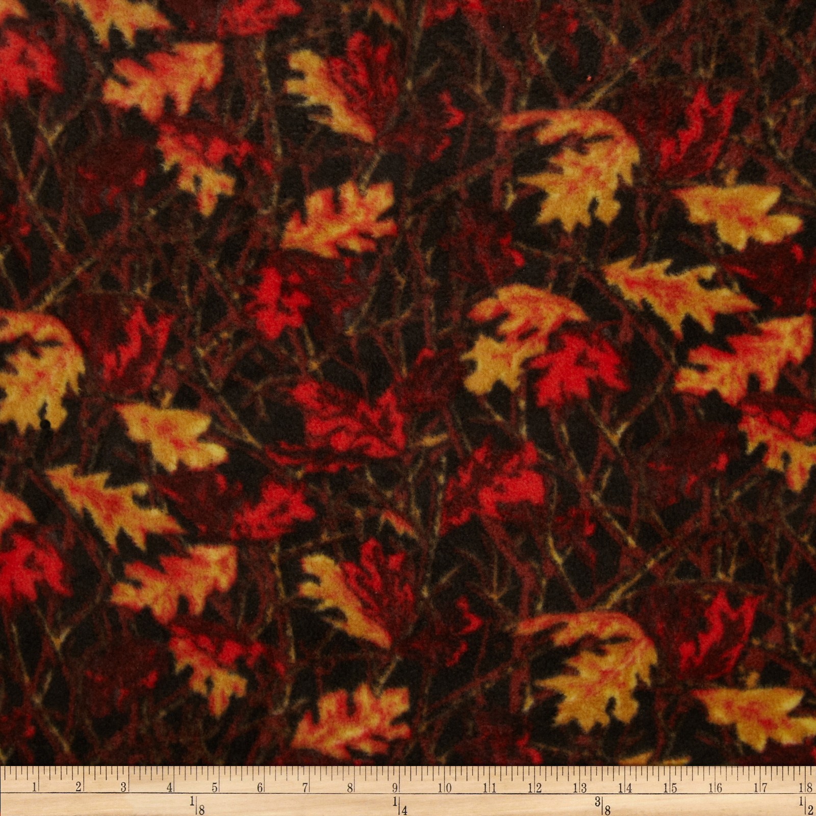 Fleece Leaves Red/Gold/Brown Fabric by Eugene in USA