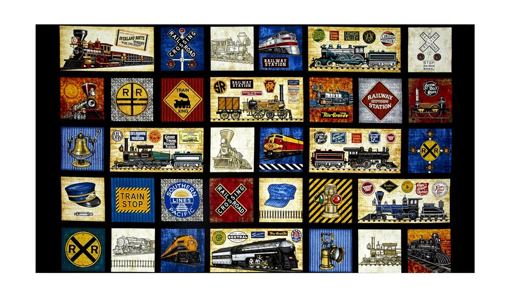 Full Steam Ahead Patchwork 24'' Panel Black Fabric