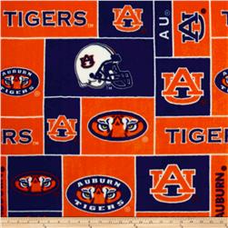 Collegiate Fleece Auburn University Blocks Orange/Blue Fabric
