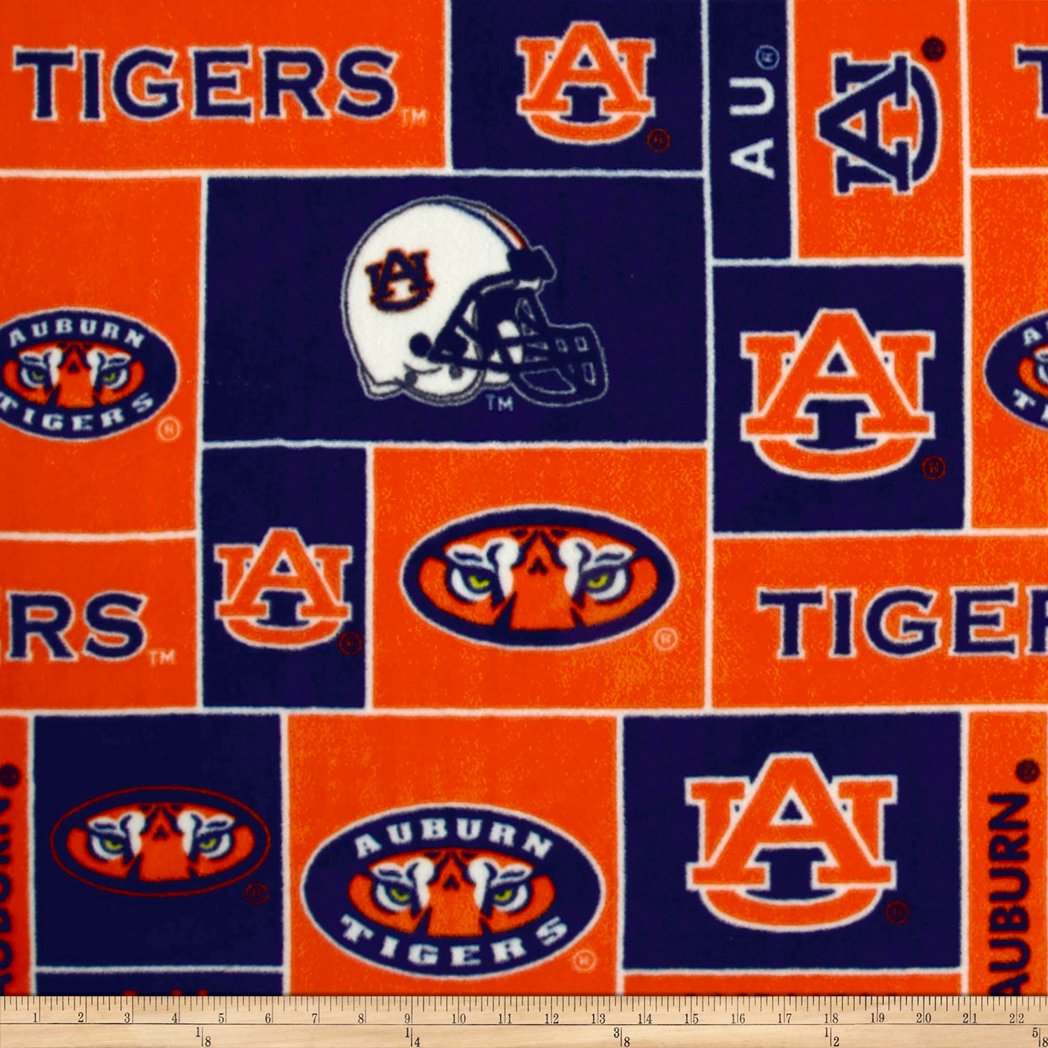 Collegiate Fleece Auburn University Blocks Fabric
