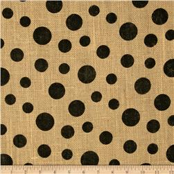 Printed Burlap Scattered Dots Natural/Black Fabric