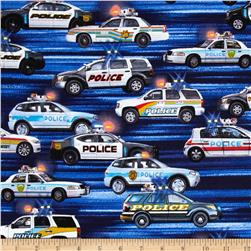 Kanvas Boys in Blue Police Cars Blue Fabric