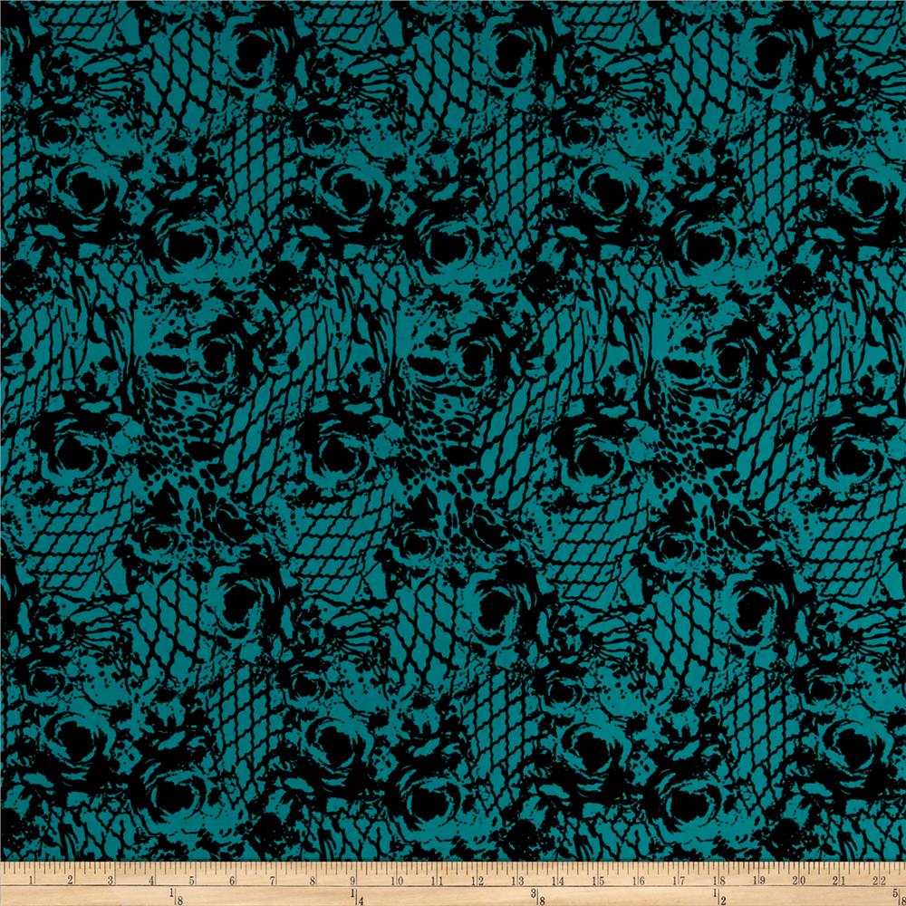 Stretch ITY Jersey Knit Bohemian Printed Rose Teal