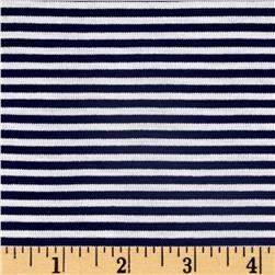 Jersey Knit Mini Navy Stripes/White