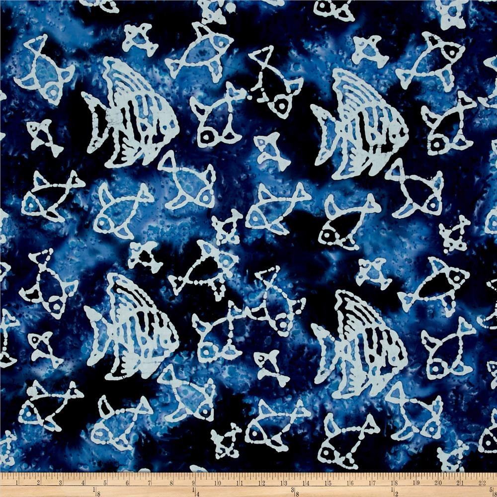 Indian Batik Large Fish Blue/Multi/White