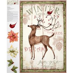 Christmas Winter Garden Panel Beige