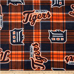 MLB Fleece Detroit Tigers Plaid Blue/Orange Fabric