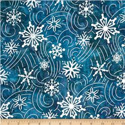 Robert Kaufman Artisan Batiks Metallic Noel Large Flakes Swirl Jewel