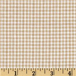 Woven Poly/Cotton Seersucker Beige Fabric