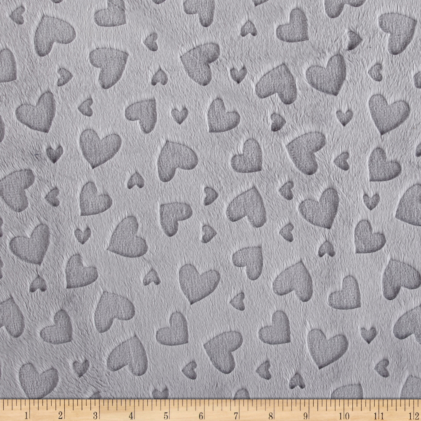Shannon Shannon Embossed Heart Cuddle Silver Fabric by Shannon in USA