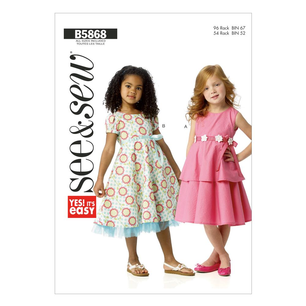 Butterick Children's Dress Pattern B5868 Size 0A0