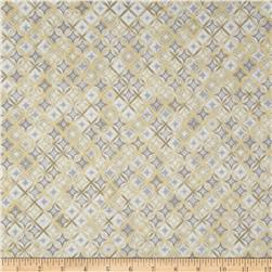 Kaufman Winter's Grandeur 4 Metallics Diamond Grid Frost