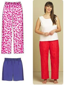 Kwik Sew Sleep Pants & Shorts Plus Size Learn To Sew Pattern