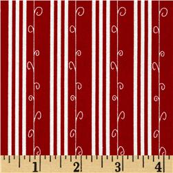 Moda Mistletoe Lane Stripe Crimson