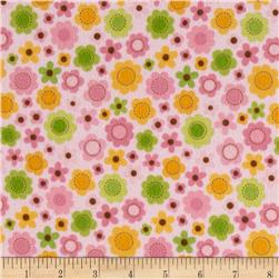 Riley Blake Sweet Baby Girl Flannel Sweet Flowers Pink