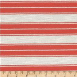 Stretch Yarn Dyed Hatchi Knit Stripes Coral/White