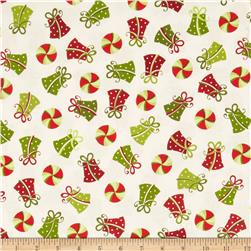 Kimberbell's Merry & Bright Tossed Presents White Fabric