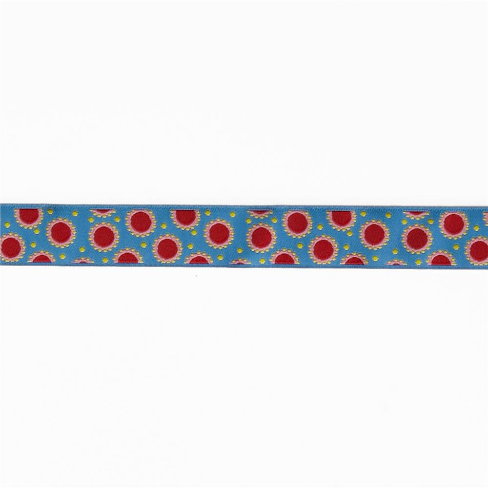 7/8'' Jane Sassaman Blue & Red Dotty Dots Ribbon Fabric By The Yard