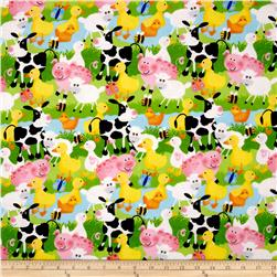 Flannel Farm Animals Blue/Multi Fabric
