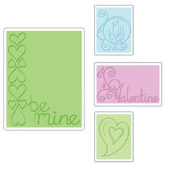 Sizzix Textured Impressions Embossing Folders 4 Pack-Valentine Set