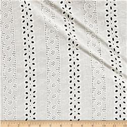 Cotton Eyelet Floral Border Off-White