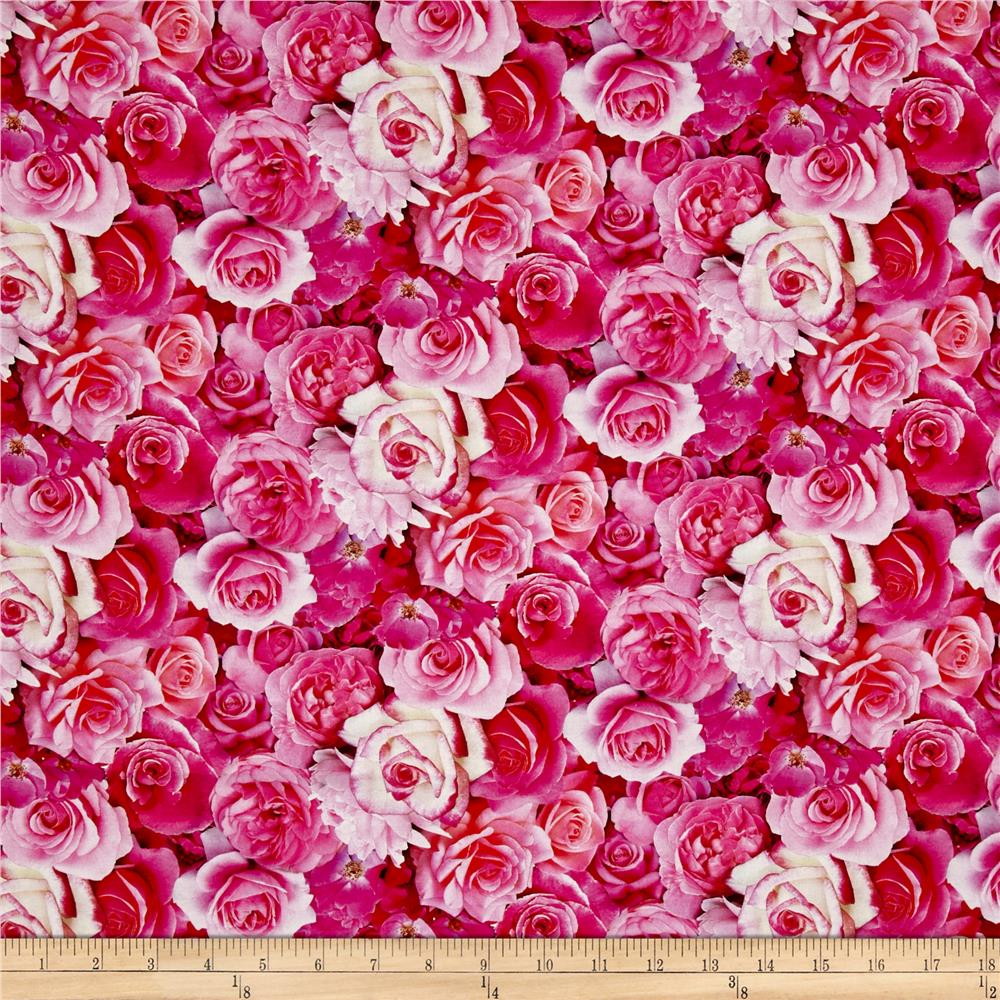 Rose Garden Digital Print Packed Roses Pink Fabric