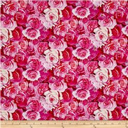 Rose Garden Digital Print Packed Roses Pink