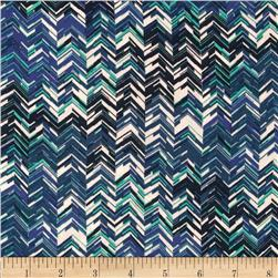 Designer Rayon Crepe Chevron Mint/Royal
