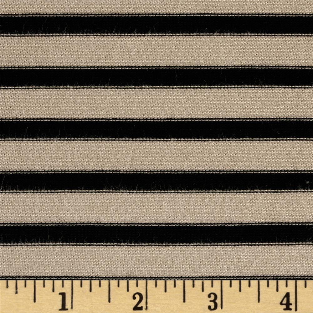 Rayon Lycra Spandex Hatchi Knit Yarn Dyed Stripes Black/Tan