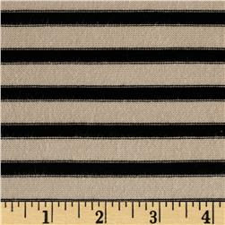 Rayon Lycra Hatchi Knit Yarn Dyed Stripes Black/Tan